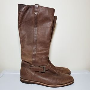 Cole Haan Distressed Brown Leather Riding Boots
